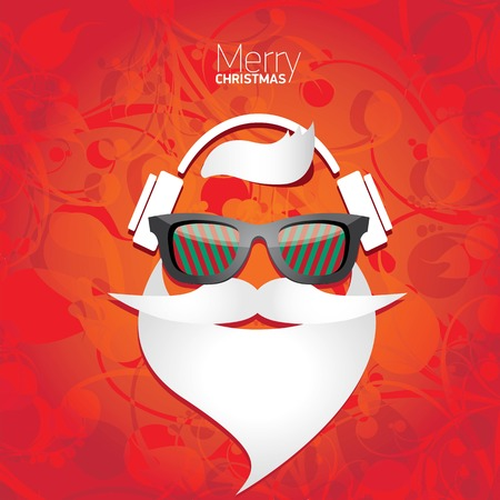 abstract music background: Vector Hipster santa poster for party or greeting card.