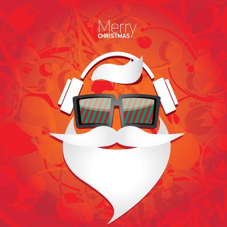 retro music: Vector Hipster santa poster for party or greeting card.