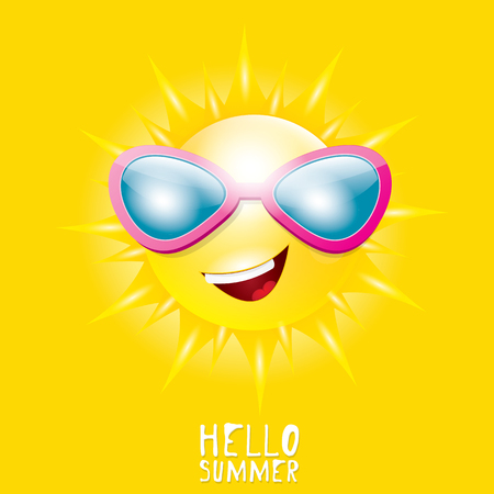 smiling sun: Hello Summer. vector summer smiling sun in sky Illustration