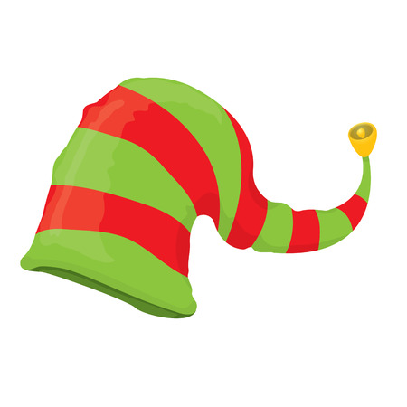 elf cartoon: cartoon green christmas elf hat. vector illustration