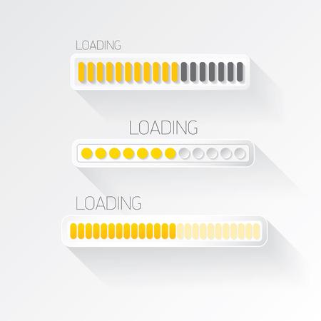 web site design template: vector flat white modern trendy design progress bar, loading bar , status bar , progress icon template for app or web site Illustration