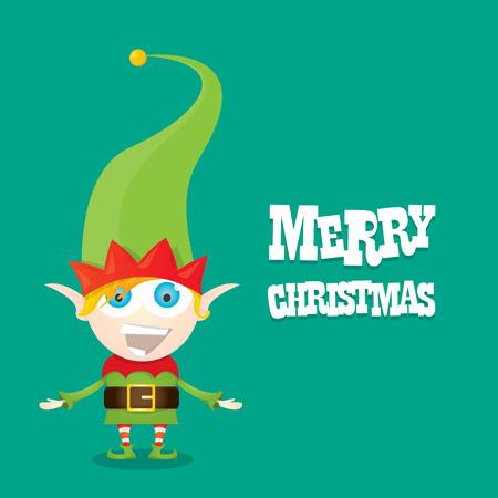 elf hat: vector cartoon cute happy Christmas elf . merry christmas illustration