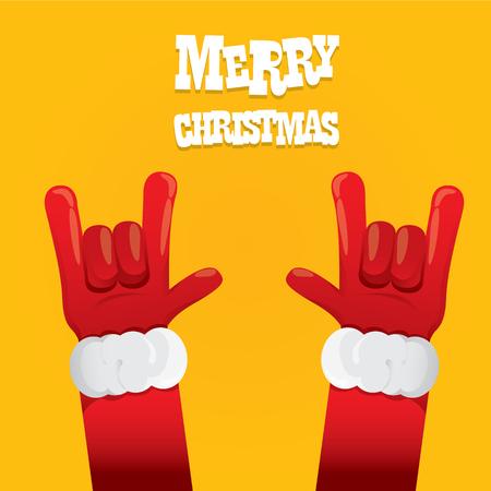 산타 클로스 손 락 앤 롤 아이콘의 그림입니다. 크리스마스 락 콘서트 포스터 디자인 서식 파일 또는 인사말 카드 일러스트