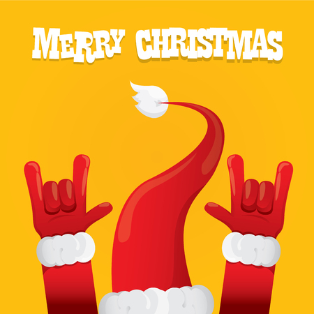 Santa Claus hand rock n roll icon illustration. Christmas Rock concert poster design template or greeting card Vettoriali
