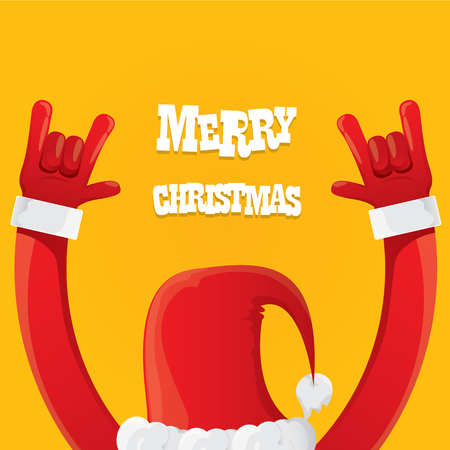 Santa Claus hand rock n roll icon illustration. Christmas Rock concert poster design template or greeting card Çizim