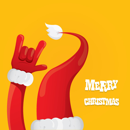 Santa Claus hand rock n roll icon illustration. Christmas Rock concert poster design template or greeting card 矢量图像
