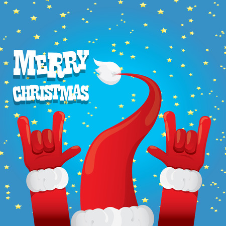 rock n roll: Santa Claus hand rock n roll icon illustration. Christmas Rock n roll concert poster design template or greeting card
