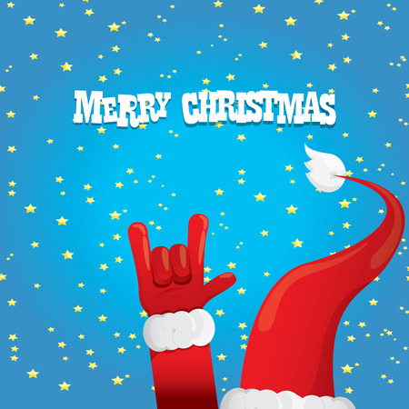 rock n: Santa Claus hand rock n roll icon illustration. Christmas Rock n roll concert poster design template or greeting card
