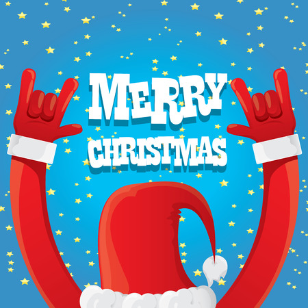 christmas concept: Santa Claus hand rock n roll icon illustration. Christmas Rock n roll concert poster design template or greeting card