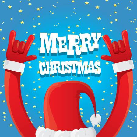 estrellas de navidad: Santa Claus mano de la roca n rollo icono de la ilustraci�n. Roca de Navidad plantilla de dise�o de cartel del concierto n roll o tarjeta de felicitaci�n