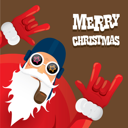 biker santa claus with smoking pipe. Christmas hipster poster for party or greeting card. Çizim
