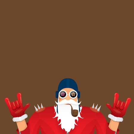 famous people: biker santa claus with smoking pipe. Christmas hipster poster for party or greeting card. Illustration