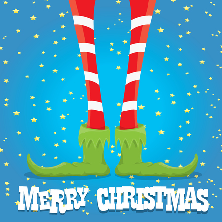 elf's: creative merry christmas greeting card, christmas cartoon elfs legs on blue background