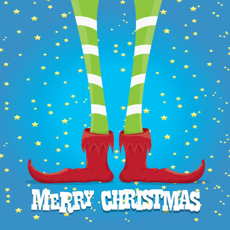 elfs: creative merry christmas greeting card, christmas cartoon elfs legs on blue background