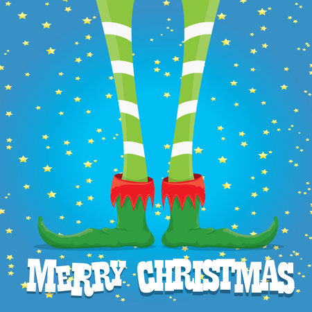 elfs: creative merry christmas greeting card, christmas cartoon elfs legs on blue background