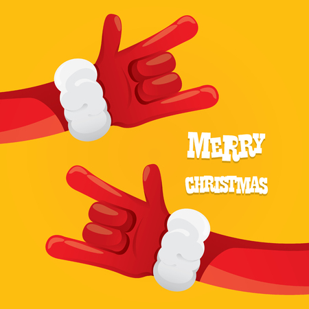 rock n: Santa Claus hand rock n roll icon illustration. Christmas Rock concert poster design template or greeting card Illustration