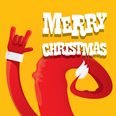rockstar: Santa Claus hand rock n roll icon  illustration. Christmas Rock concert poster design template or greeting card