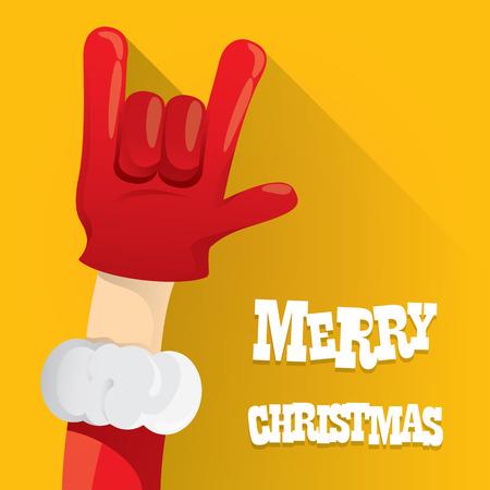 rockstar: Santa Claus hand rock n roll icon illustration. Christmas Rock concert poster design template or greeting card Illustration