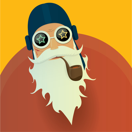 santa claus face: biker santa claus with smoking pipe. Christmas hipster poster for party or greeting card. Illustration