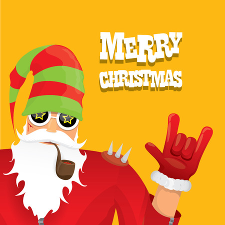 biker santa claus with smoking pipe. Christmas hipster poster for party or greeting card. Vectores