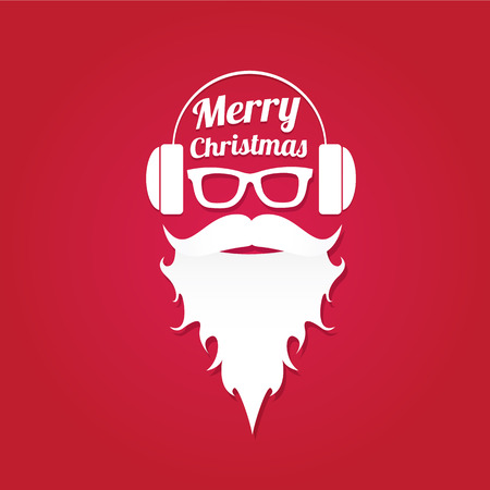 Christmas hipster poster for party or greeting card. illustration. Santa Hipster Claus. merry christmas art design Illustration