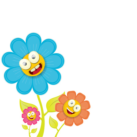 steam of a leaf: vector spring cartoon flowers isolated on white background. vector illustration Illustration
