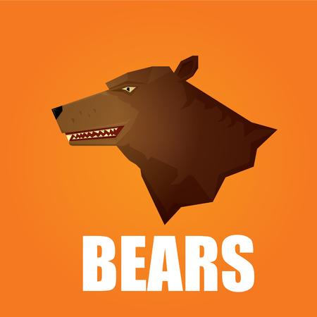 growling: vector cartoon bear. grizzle icon. bear muzzle logo Illustration