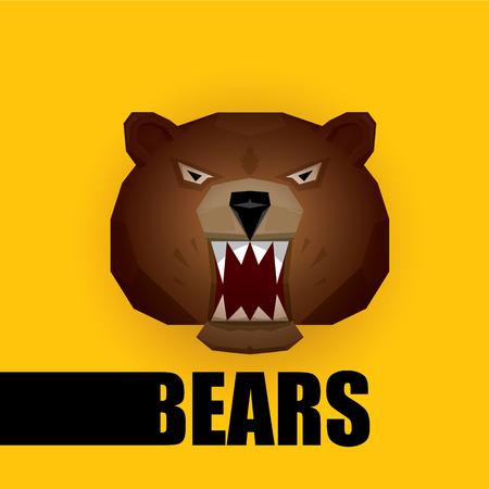 grizzle: vector cartoon bear. grizzle icon. bear muzzle logo Illustration