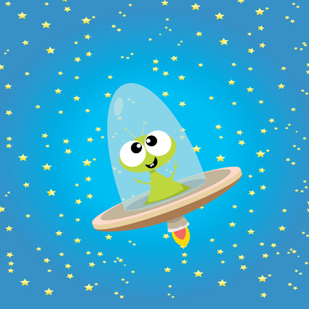 cute alien: ufo. cute alien vector illustration. flying saucer