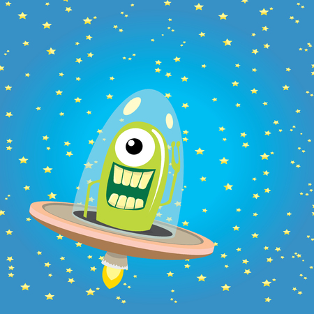 Raumschiff: ufo. Cute Alien Vektor-Illustration. fliegende Untertasse