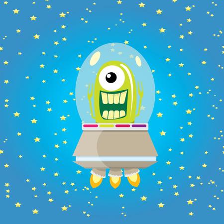 ufo. leuke vreemdeling vector illustratie. vliegende schotel