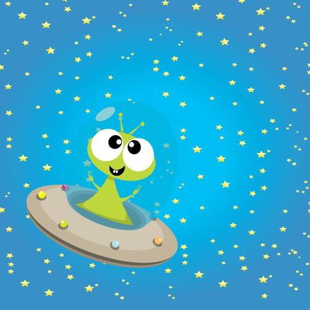 ufo. carino illustrazione vettoriale alieno. disco volante