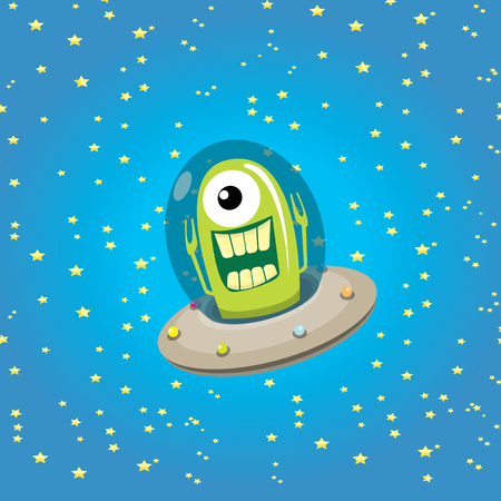 fantasy alien: ufo. cute alien vector illustration. flying saucer