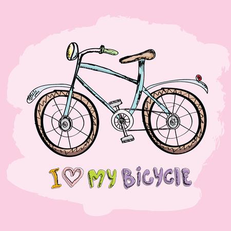 Ik hou van mijn fiets conceptontwerp. Hand getrokken vector vintage fiets. doodle vintage fiets
