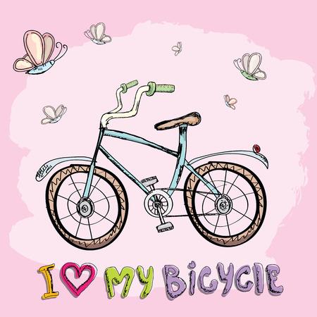 Ik hou van mijn fiets conceptontwerp. Hand getrokken vector vintage fiets. doodle vintage fiets Vector Illustratie