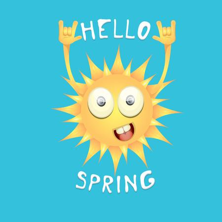 spring roll: sun hand rock n roll icon vector illustration. Spring or summer Rock concert poster design template or greeting card Illustration