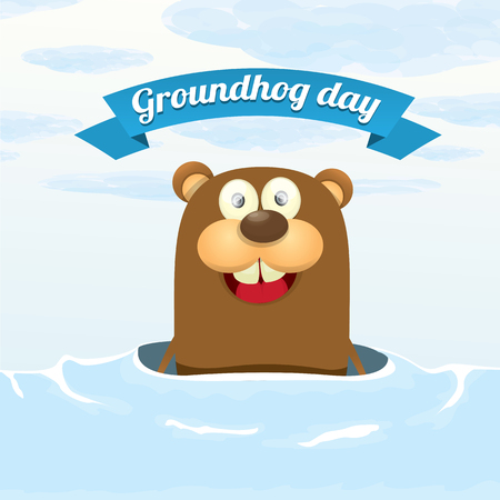 woodchuck: Groundhog day. vector greeting card to groundhog day 2 february. Spring beginning . Illustration