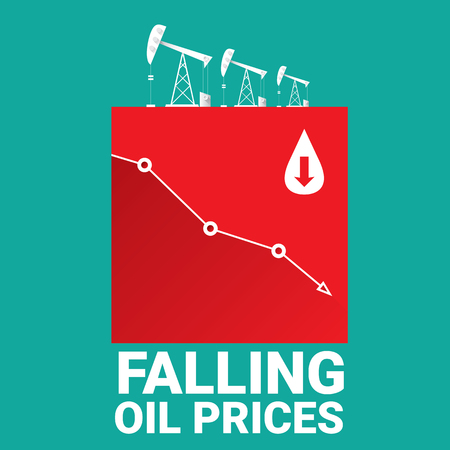 graph down: Oil price falling down graph illustration. vector illustration background