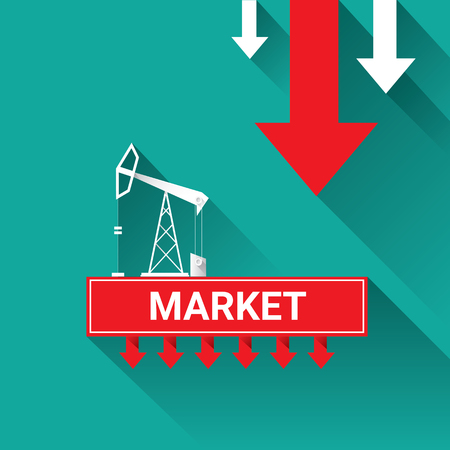 price drop: Oil price falling down graph illustration. vector illustration background