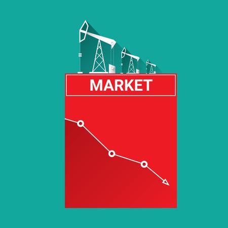 brent crude: Oil price falling down graph illustration. vector illustration background