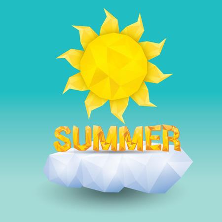 summer sky: vector summer label. summer icon with sun.  summer sky Illustration