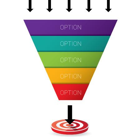 Vector plantilla de diseño infografía o en la web. embudo de ventas vector