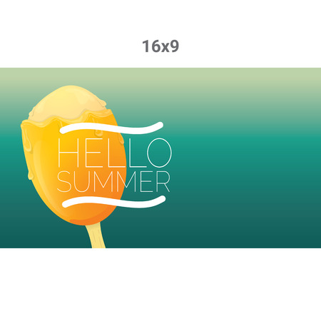 melts: Hello summer vector creative concept background. Ice cream melts.