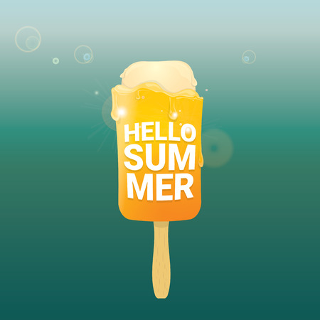 hot summer: Hello summer vector creative concept background. Ice cream melts.