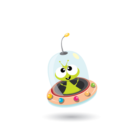 ufo. cute alien vector illustration. flying saucer