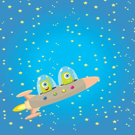 cartoon alien: ufo. cute alien vector illustration. flying saucer