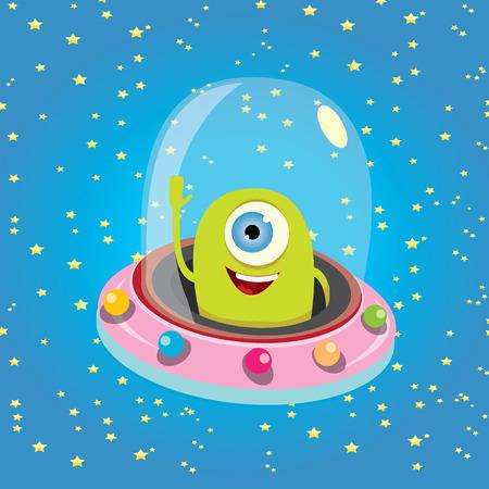 aliens: ufo. cute alien vector illustration. flying saucer