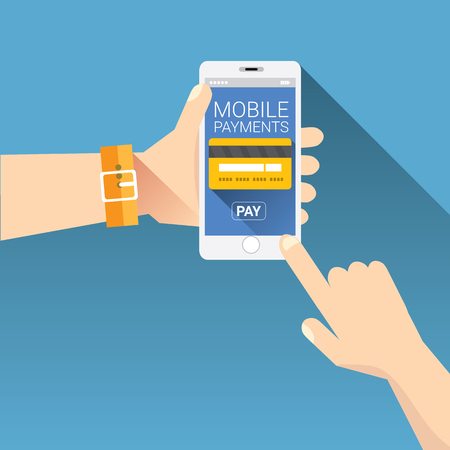 terminal: Flat design style vector illustration of modern smartphone with processing of mobile payments from credit card on the screen. Internet banking concept. wireless money transfer.