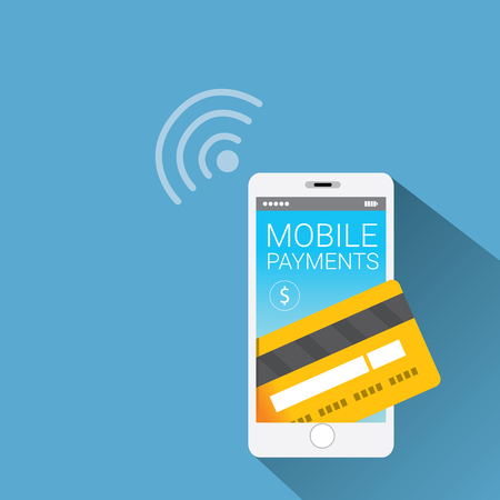 e card: Flat design style vector illustration of modern smartphone with processing of mobile payments from credit card on the screen. Internet banking concept. wireless money transfer.