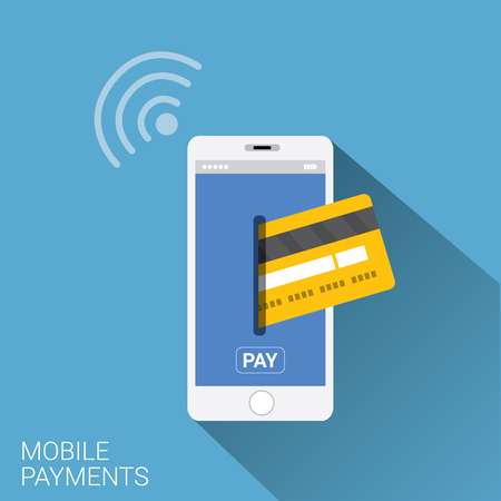 e money: Flat design style vector illustration of modern smartphone with processing of mobile payments from credit card on the screen. Internet banking concept. wireless money transfer.